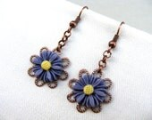 Valentines day sale, Violet plum flower, filigree earrings, drop earrings, mum earrings, summer hot chain copper earrings, gift affordable