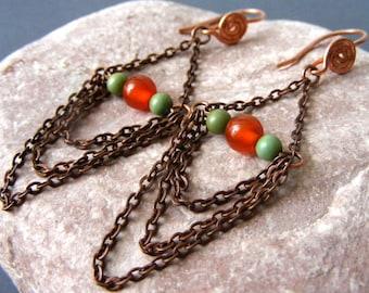 Bohemian earrings Copper chain earrings chandelier dangle earrings eco friendly earrings gemstone agate may birthstone vintage boho antique