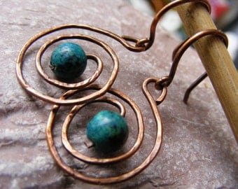 Copper earrings spring sale hammered wire wrapped copper antique hoops earrings chrysocolla gemstone September birthstone boho eco friendly