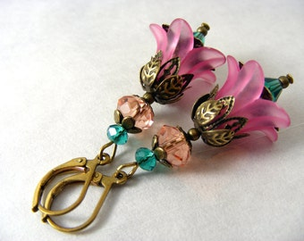 Cyber Monday, Black Friday sale Lucite Flower Collection pink and teal -  earrings vintage drop dangle cluster eco boho
