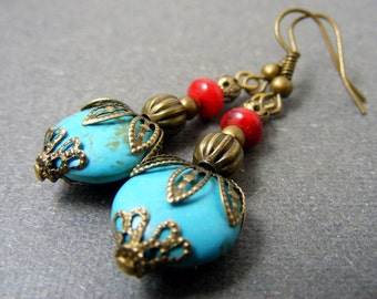 Cyber Monday sale Mothers day sale, South charm II Dangle earrings, turquoise coral earrings, boho jewelry, bronze floral drop