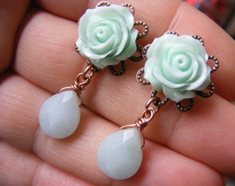Mint earrings mint green studs mint dangle earring rose drop earrings flower amazonite briolette gemstone beaded earrings birthstone jewelry