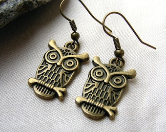 Owl earrings for daughter Bronze owl earring for her dangle owl earrings owl charm earrings drop earrings recycled nature woodland bird boho