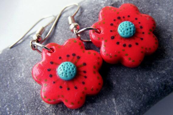Red dangle earrings, red polymer clay, flower earrings, hot summer jewelry, gift for her, eco friendly hoop earrings, handpainted jewelry