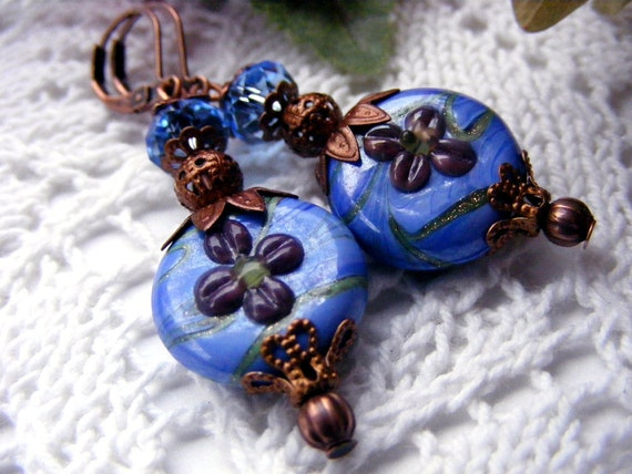Copper Blue Lampwork Earrings