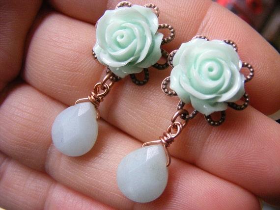 Mint earrings mint green studs mint dangle earring rose drop earrings flower amazonite briolette gemstone beaded earrings birthstone jewelry