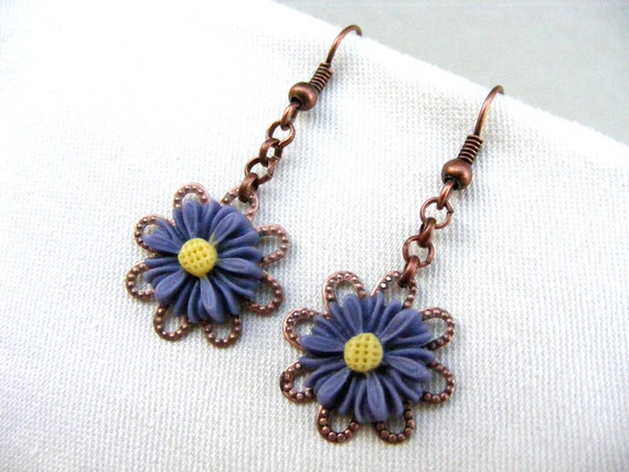 Valentines day sale, Violet plum flower, filigree earrings, drop earrings, mum earrings, summer hot chain copper earrings, gift affordable