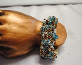 Metallic Knitted and Beaded Bracelet Eye Catching and Elegant