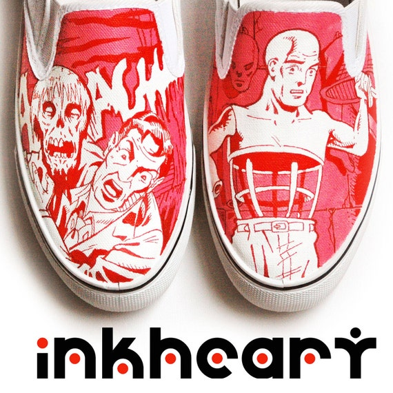 Red, Tales From the Crypt, Handpainted Custom Shoes, Mens
