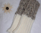 TWO IN ONE (2 in 1). Hand knit boot toppers, boot cuffs, boot buffers, leg warmers. Oatmeal Tweed & Ivory.