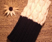 TWO IN ONE. Hand knit boot toppers, boot cuffs, boot buffers, leg warmers. Transform your existing boots. Ivory & Black.