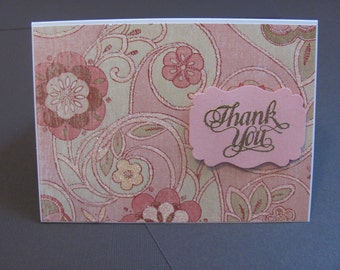 Handcrafted, Handmade, Pretty in pink floral thank you card, Thanks Card, Thank You Card