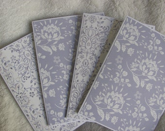 Handcrafted, Handmade, Purple and Cream Floral Note Card Set of 4, Note Cards, Blank Cards, All Occasion Cards, Invitations, Thank You Cards