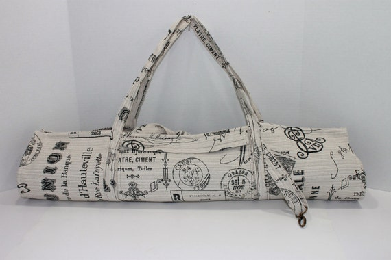 French Script Linen and Lavender Yoga Sling