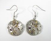 SteamPunk Earrings - Purple and Yellow Swarovski Crystals - Russian Watch - Communism, Iron Curtain - Free Shipping - IronCurtainSteamPunk