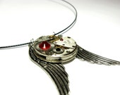 SteamPunk Necklace With Swarovski Crystals - Russian- Clockwork - Free Shipping - IronCurtainSteamPunk