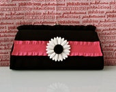 REDUCED Vintage 1970s purse clutch  Black fabric Pink and White Black Daisy