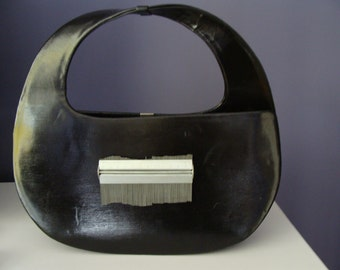 SALE- Vintage 1960s Purse 1970s Sleek Chic UPcycled Jerry Moss Structural Bag