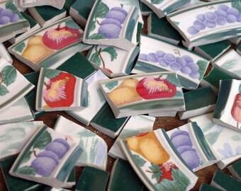 FREE SHIPPING 100 GARDEN Green Fruit Bowl Mosaic Tiles Tesserae Handmade Cut Nipped Dinnerware Plates Dishes Flowered Mosaics