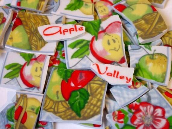 FREE SHIPPING 100 Apple Valley w Words Mosaic Tiles Tesserae Handmade Cut Nipped Dinnerware Plates Dishes Flowered Mosaics