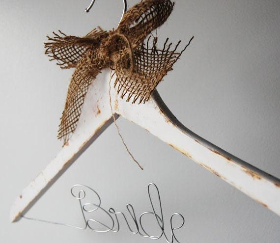 Burlap Personalized Wedding Hanger, White Distressed Bridesmaid Hanger, Rustic Country Wedding Hanger, Wire Bridal Hanger, Gift Under 30