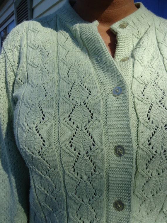Soft Green Grandma Cardigan