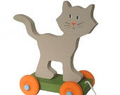 Children's Toy - Wooden Gray Cat Pull Toy