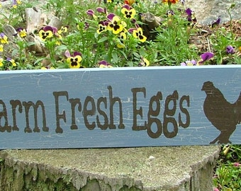 Farm Fresh Eggs Wooden Sign (Light French Blue with Crackle Effect)