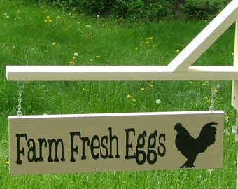 Farm Fresh Eggs Sign with Bracket for Hanging - Reclaimed Wood (Linen)