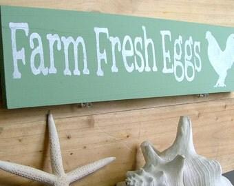 Farm Fresh Eggs Wooden Sign (Sage Green) - Reclaimed Wood