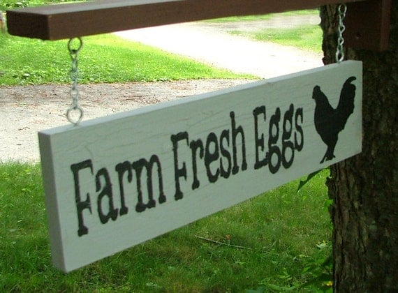 Farm Fresh Eggs Sign with Bracket for Hanging (Stone Gray & Silver Crackle)
