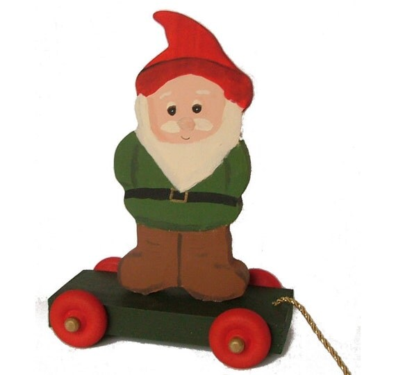 Gnome Pull Toy  (Wooden)
