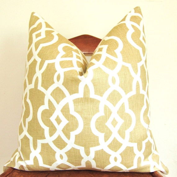 ON BOTH SIDES - Pillow Cover - Throw Pillow - Decorative Pillow - Schumacher - Summer Palace Fret - 20 inch Square - Sand - Linen