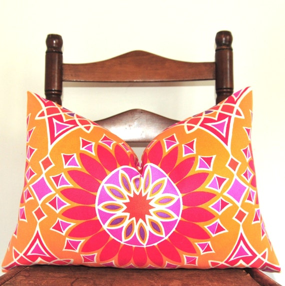 On BOTH SIDES - Designer Pillow - Decorative Pillow - Throw Pillow - Trina Turk - Schumacher - Indoor/Outdoor - 14x22 in - Orange