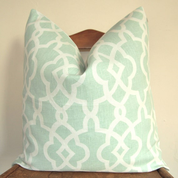 On Both Sides - Pillow Cover - Decorative Pillow - Throw Pillow -Schumacher - Summer Palace Fret - 20 in or 22 in - Mineral - Linen