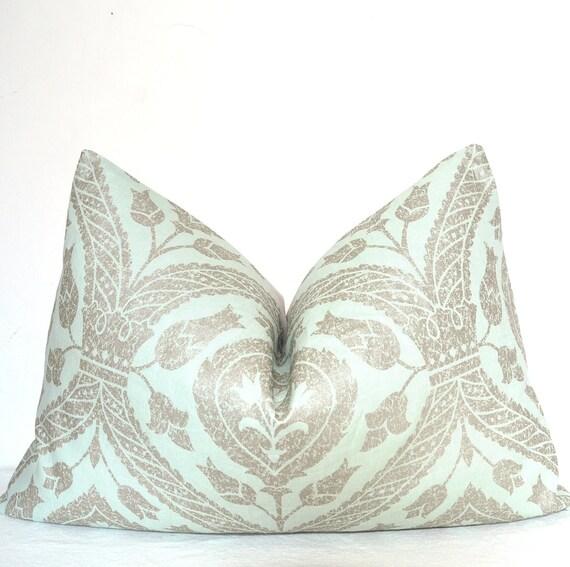 Designer Pillow, Decorative Pillow, Throw Pillow, Toss Pillow, Lumbar pillow, Metallic, Sage, 16x24 inch, Linen, Home Furnishing, Home Decor