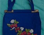 SALE -Strawberry 1970s Hippie Shoulder bag/Handbag-Navy Blue/Fabric purse/Flower child/Americana/Boho bag//Country Folk Prairie Purse