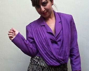 SALE - 1980's Purple Cropped Jacket//Purple Blazer//Cowl Jacket//Drape Jacket//Crop Jacket//Spring Blazer//Shoulder Pads-size 3/4