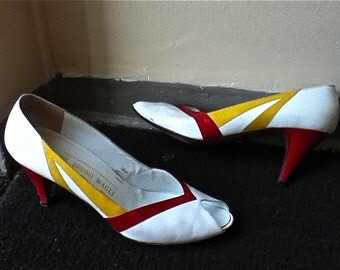 Bruno Magli 1980s Summer heels in white with red and mustard striped details // peep toe - size 7 narrow