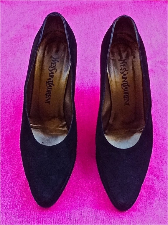 REDUCED - Stunning Yves Saint Laurent Couture - Black Suede 80's platform heels - made in Italy - size 7US