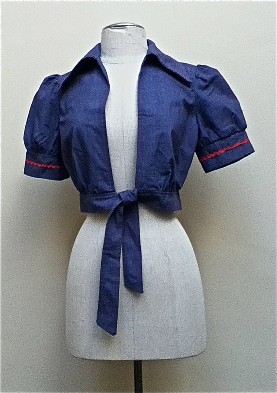 Adorable 1970's Bolero/Cropped Short Sleeved Jacket in Blue denim with Red rickrack - Bandana tie in  front - size small