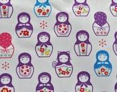 1 Fat Quarter - Kokka Fabric - Purple Matryoshka Dolls