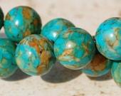 10mm Blue Mosaic Turquoise Round Gemstone Beads - 15.5 inch strand