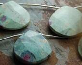 Ruby in Fuchsite Teardrop Focal Bead -10