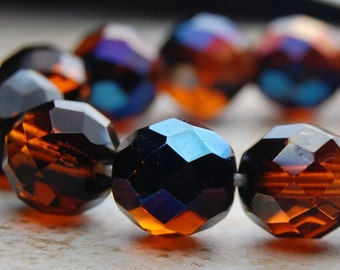 Czech Glass 12mm two-tone Fire Polished  Faceted Round Beads in Golden Honey/Midnight Blue- 15