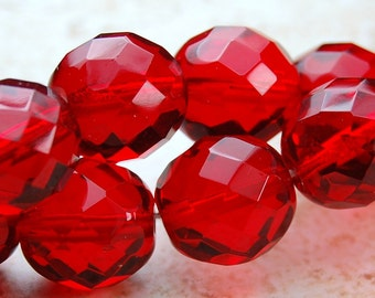 Red Czech Beads 10mm Faceted Round   -10