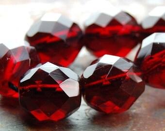 Red Garnet 12mm Faceted Czech Glass Beads   -8