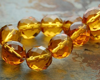 8mm Czech Beads Faceted  in Gold Honey -25