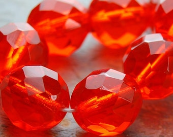 10mm Czech Beads Faceted  in Orange Tangerine -10