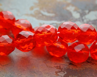 8mm Czech Beads Faceted  in Orange Tangerine -25